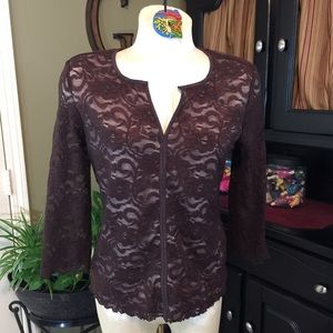 Tribal Brown Lace Top Size Medium